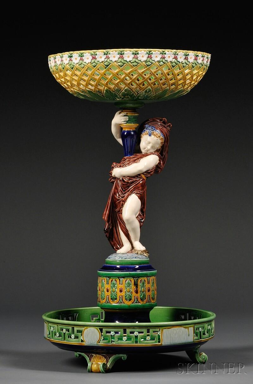 Minton Majolica Figural Centerbowl