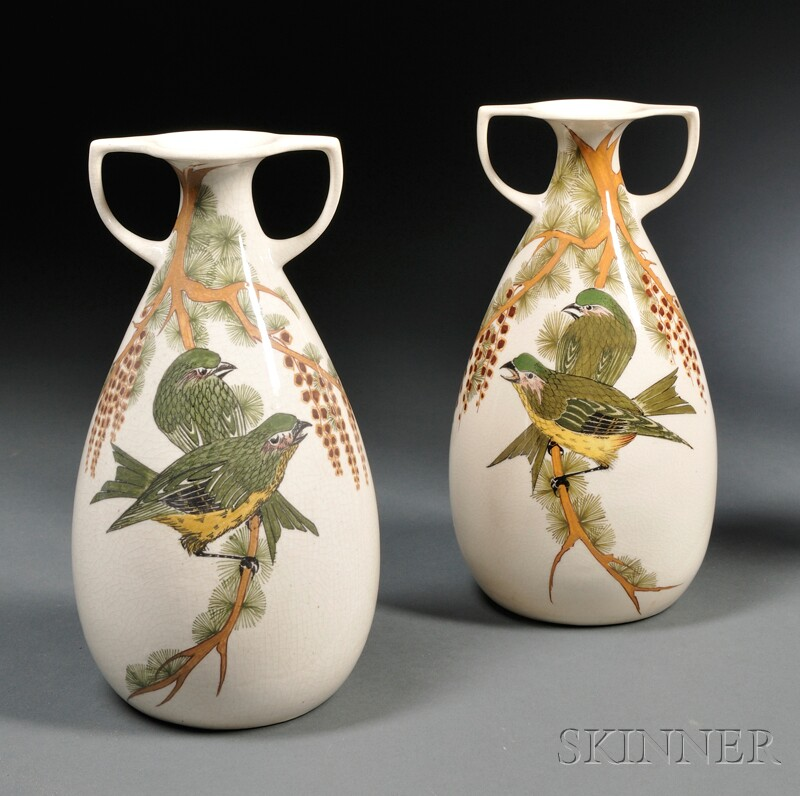Pair of Amphora Gouda Pottery High Glaze Two-handled Vases