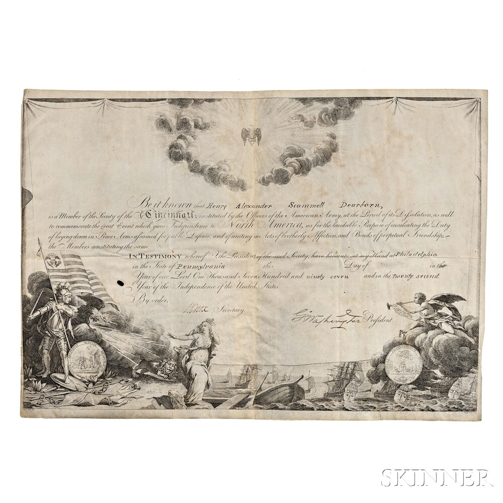 Washington, George (1732-1799) Printed Document on Parchment Signed.