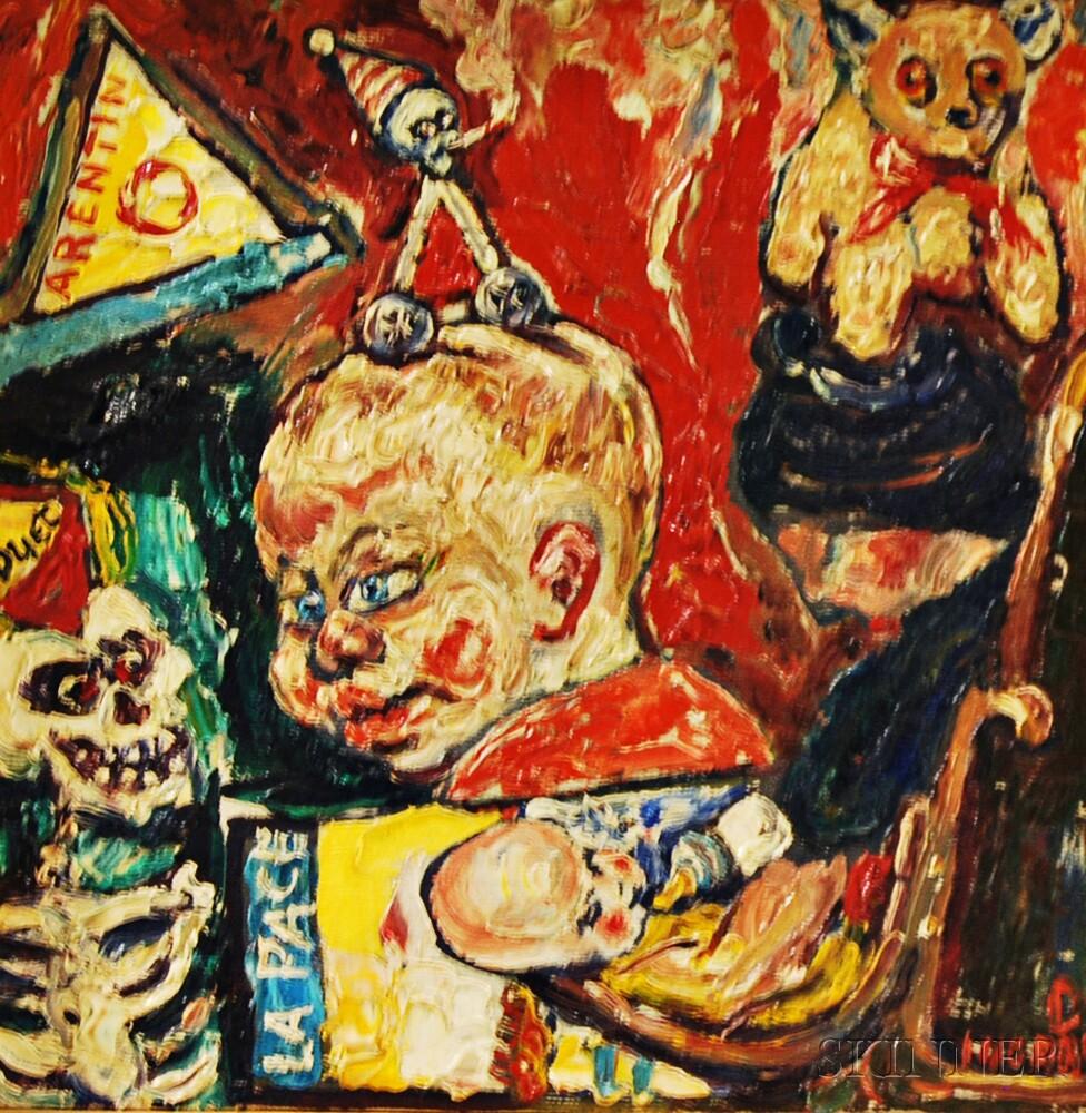 Philip Sherrod (American, b. 1935)      Nursery Duet   (Skeleton/Teddy Bear/Smoking)