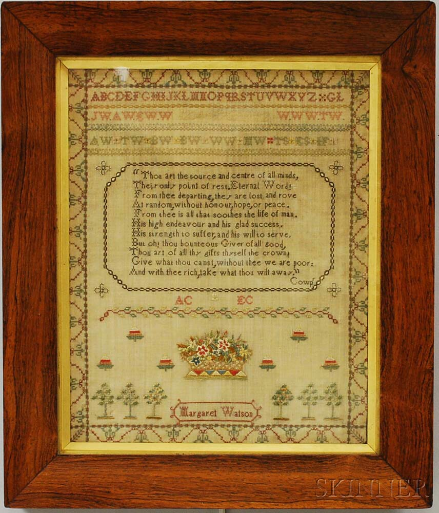 "Framed Needlework Sampler ""Margaret Watson,"""