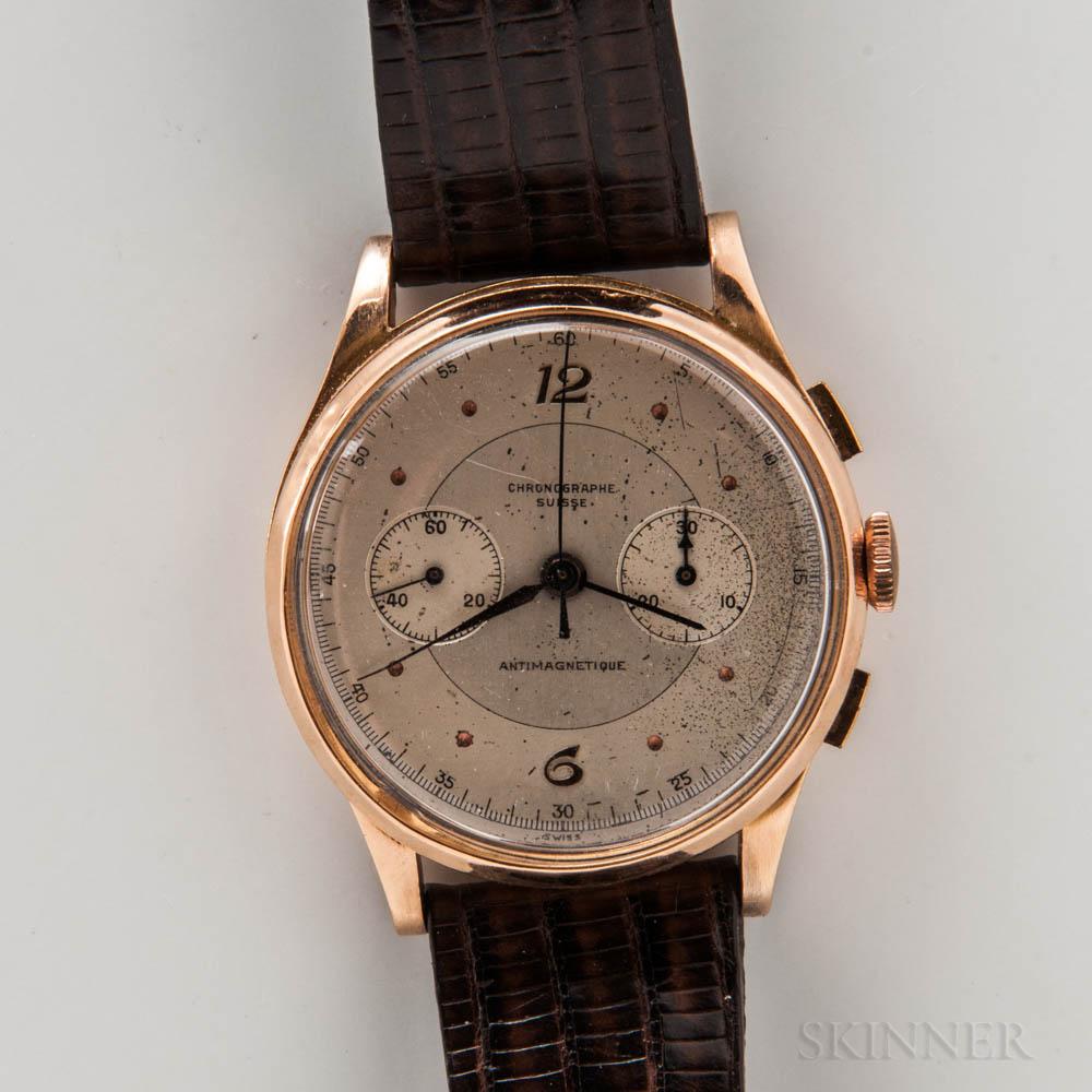 Chronographe Suisse Oversized 18kt Gold Chronograph Wristwatch