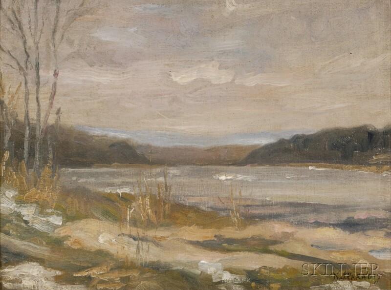 American School, 20th Century      Autumn Lake, Cloud Effect.