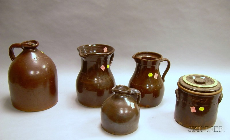 Five Pieces of Assorted Glazed Stoneware