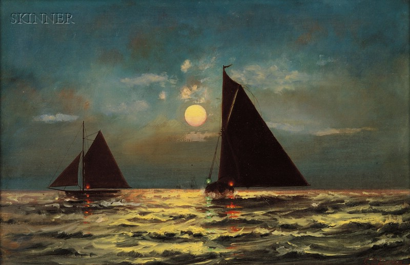 Charles S. Dorion (American, 19th/20th Century)      Sailing by the Moonlight