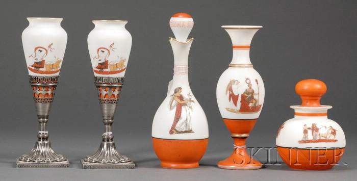 Five Greek Revival Frosted Milk Glass Vessels