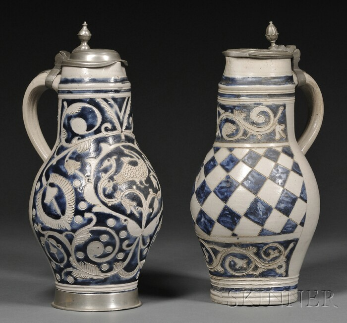 Two Westerwald-type Cobalt Blue Decorated Stoneware Jugs