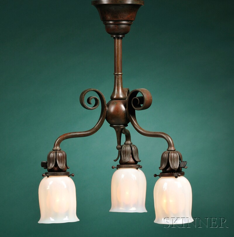 Tiffany Art Glass and Bronze Chandelier