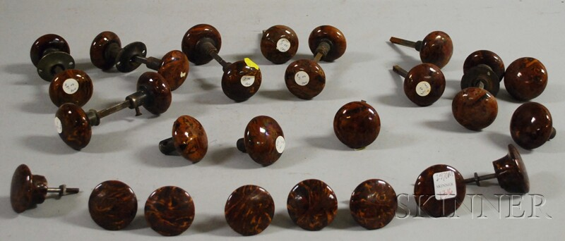 Approximately Twenty-five Bennington Glazed Doorknobs.