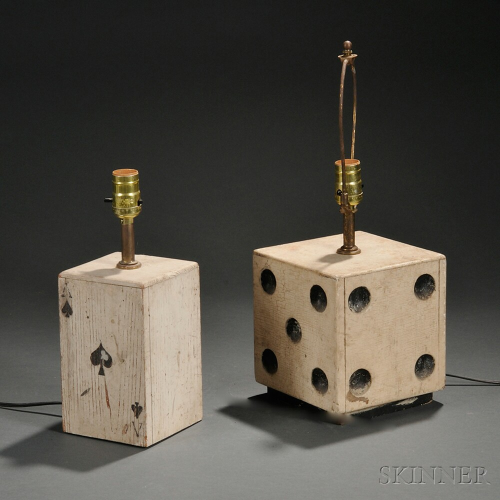 Wooden Painted Dice and Ace of Clubs Fitted as Lamps