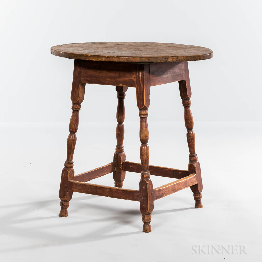 Small Red-painted Maple and Ash Oval-top Tea Table