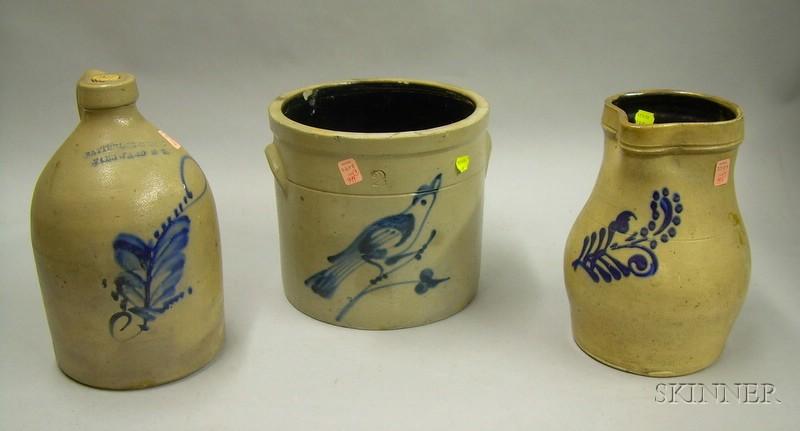 Three Pieces of Cobalt Decorated Stoneware