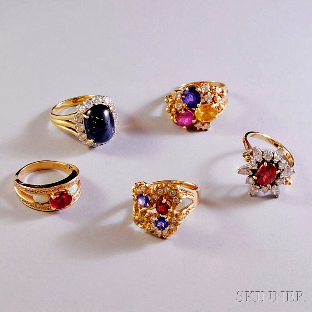 Five Gold Gem-set Rings
