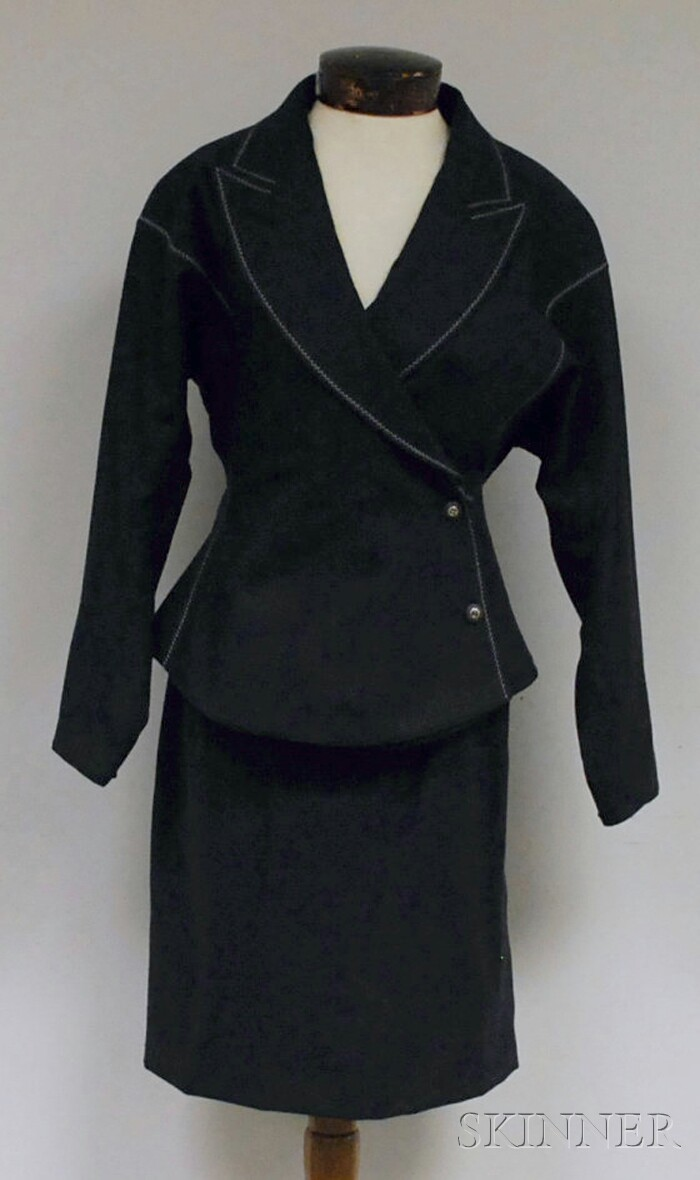 Claude Montana Lady's Charcoal Gray Two-piece Wool Suit