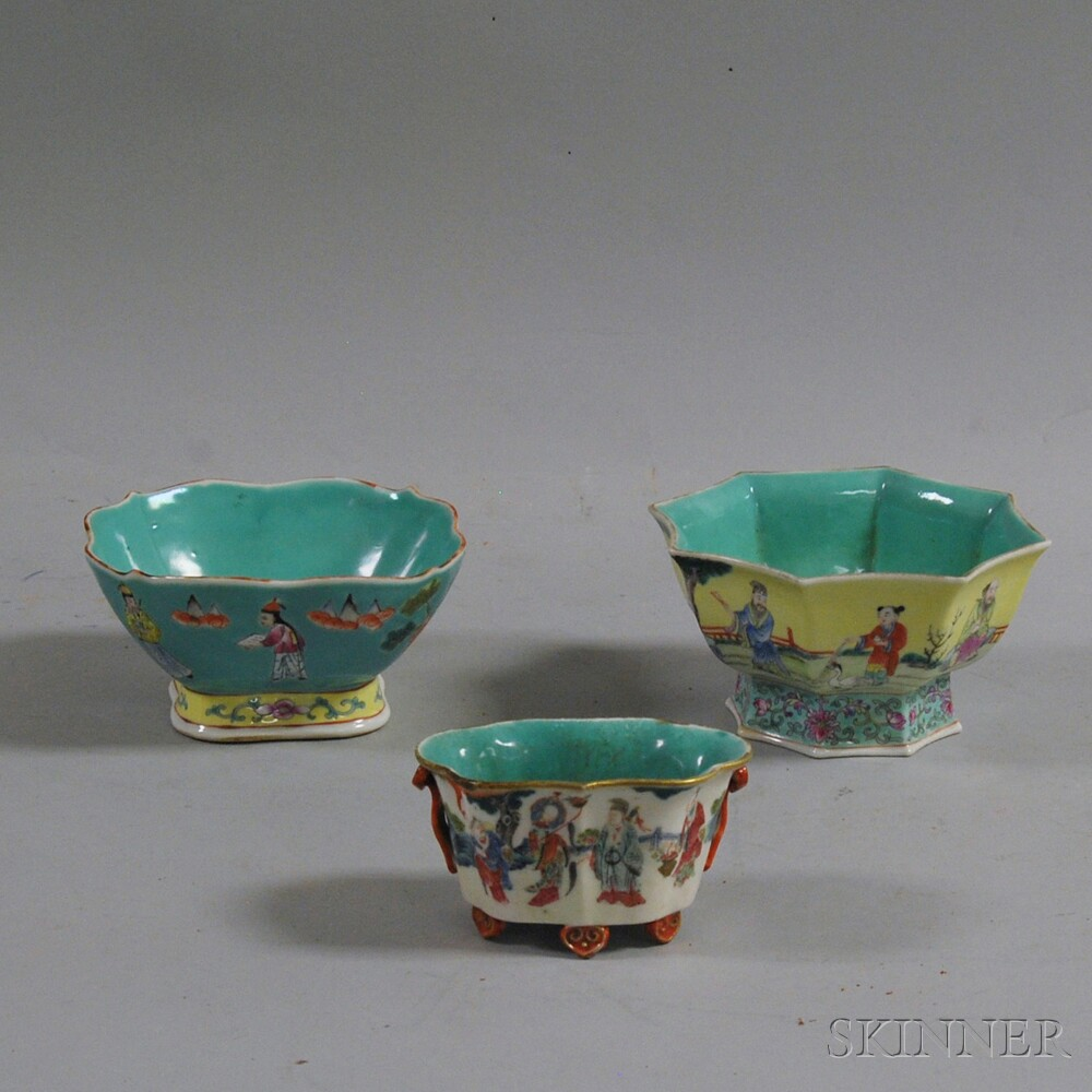 Three Chinese Famille Rose Footed Bowls
