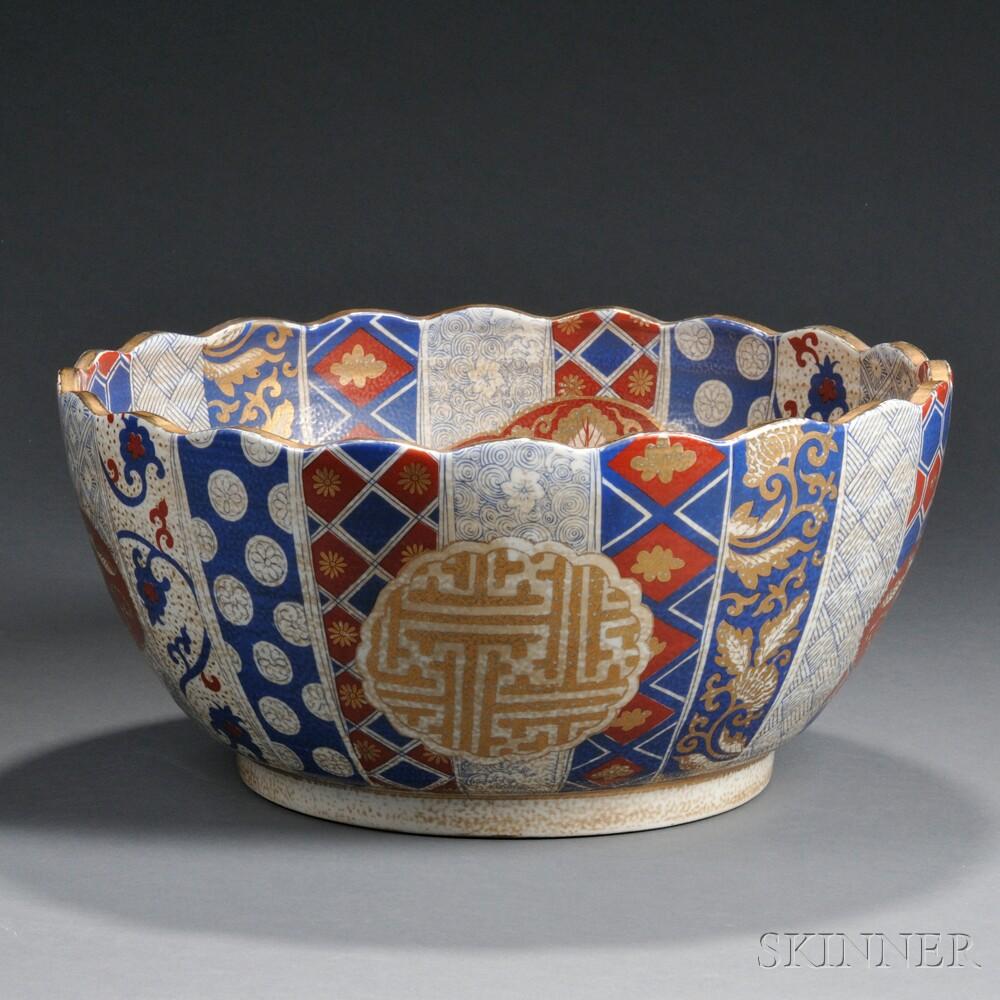 Polychrome Enamel and Gilt Satsuma-style Bowl