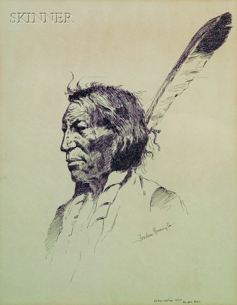 Frederic Sackrider Remington (American, 1861-1909)      Paint; Head of Indian