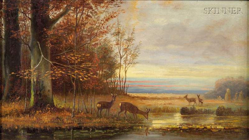 American School, 19th Century      Deer At the Edge of a Pond, Autumn Fields Beyond