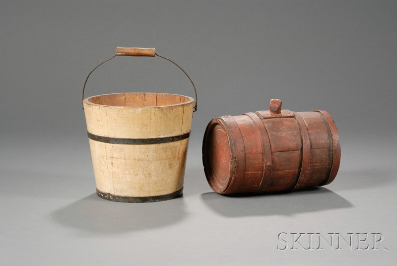 Painted Wooden Rum Keg and Pail