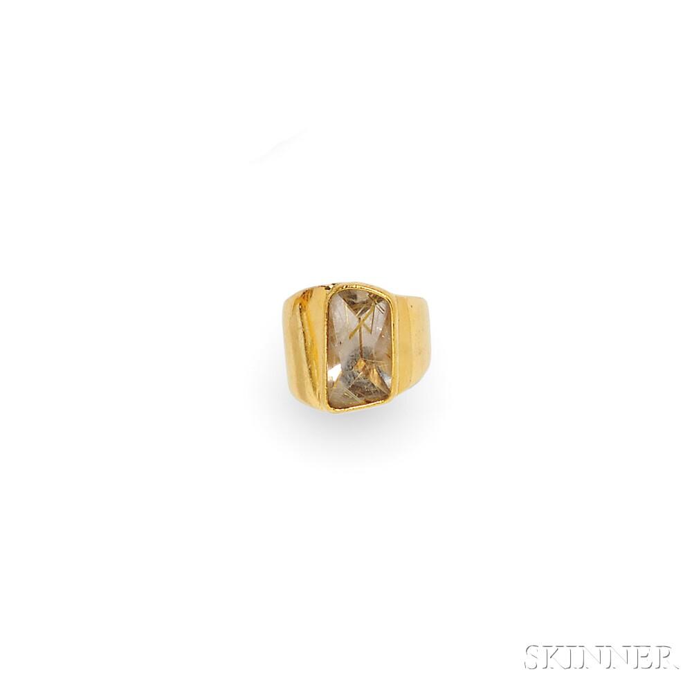Sculptural 22kt Gold and Rutilated Quartz Ring, Gillian Packard