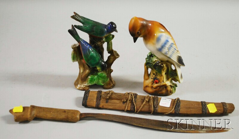 Southeast Asian Edged Weapon and Two Czech Ceramic Bird Figures