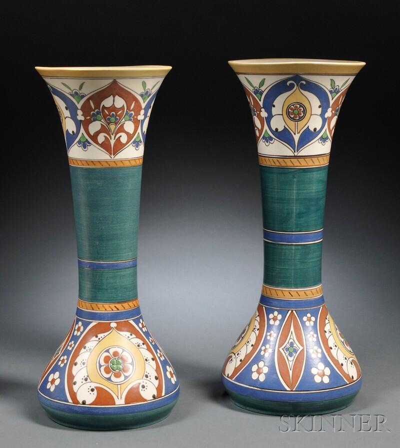 Pair of Arnhem Lindus Gouda Pottery Matte Glaze Vases