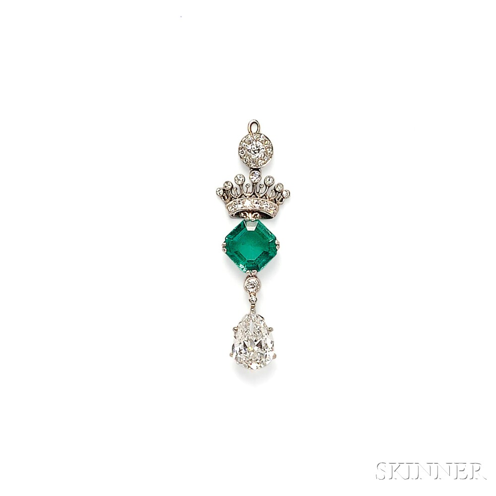 Edwardian Platinum, Emerald, and Diamond Pendant