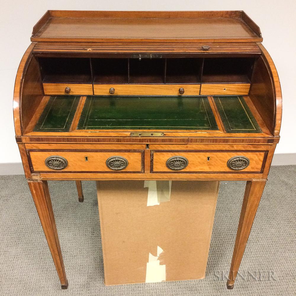 Diminutive Regency Satinwood- and Mahogany-veneered Roll-top Desk