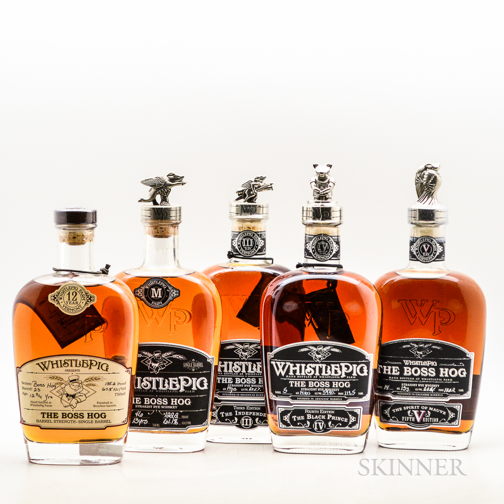 Whistle Pig, 5 750ml bottles Spirits cannot be shipped. Please see http://bit.ly/sk-spirits for more info.