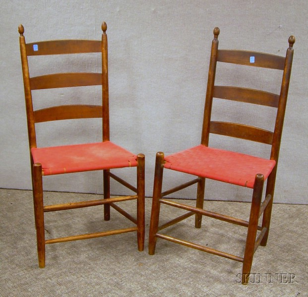 Near Pair of Shaker Stained Maple Slat-back Side Chairs with Woven Tape Seats