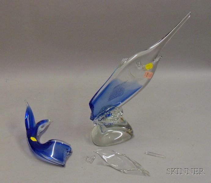 Italian Art Glass Marlin Glass Sculpture