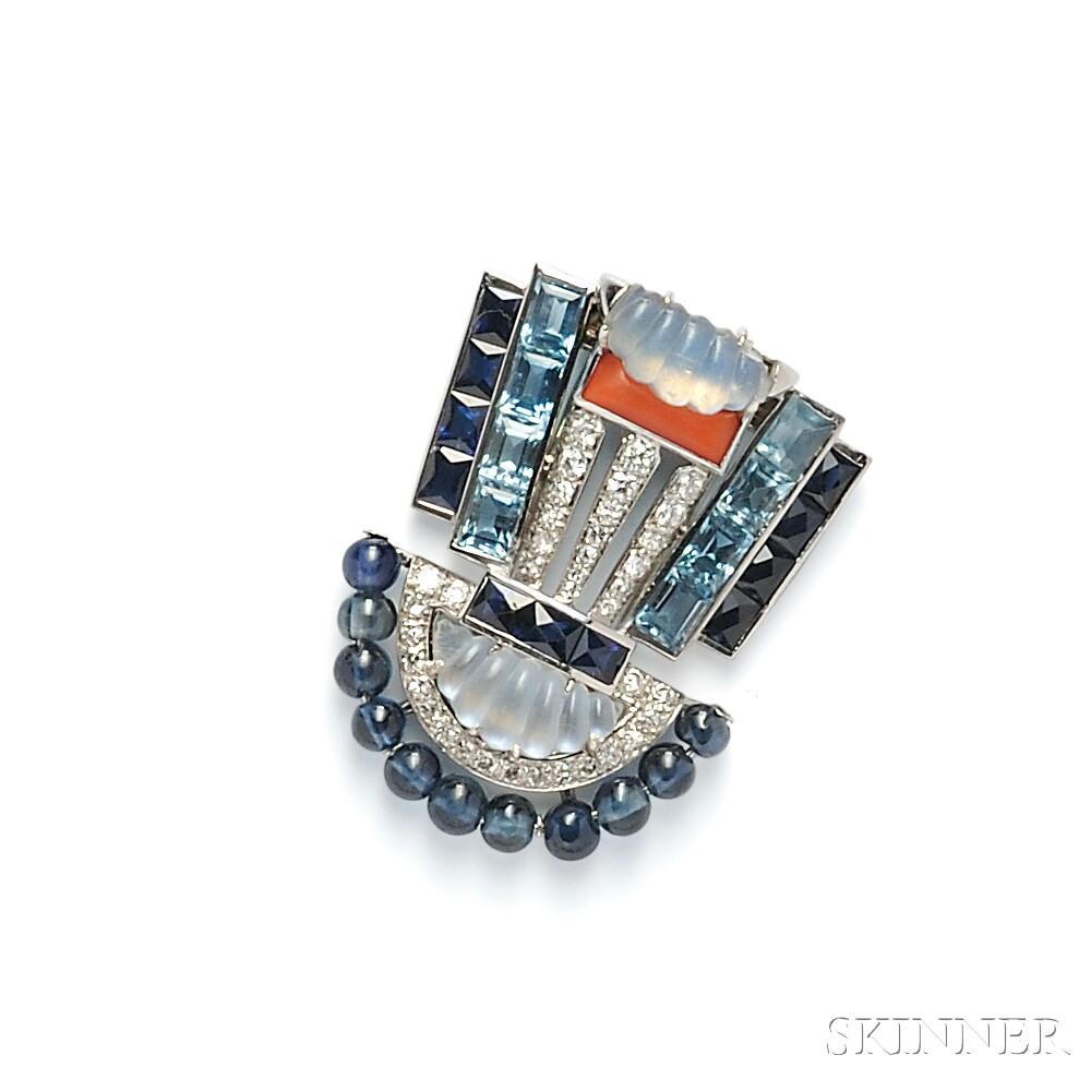 Art Deco Platinum Gem-set Clip Brooch, Oscar Heyman