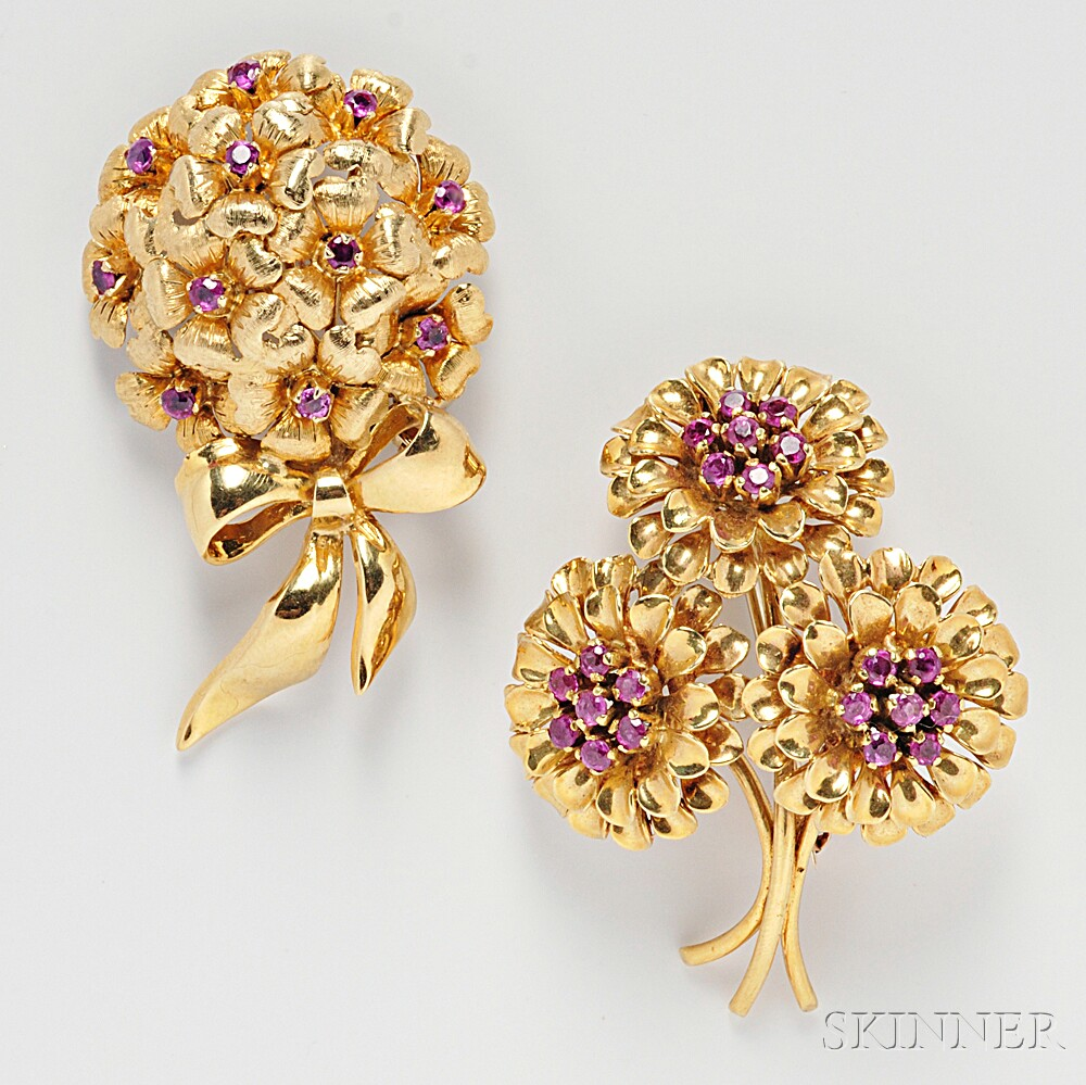 Two 18kt Gold and Ruby Flower Brooches, Tiffany & Co.