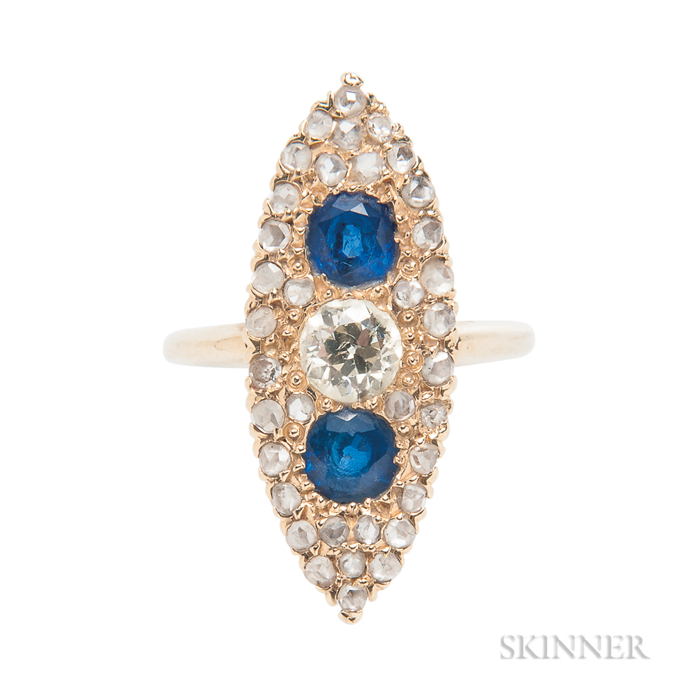 Gold, Sapphire, and Diamond Navette Ring