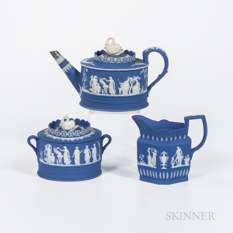 Three Adams Blue Jasper Tea Wares
