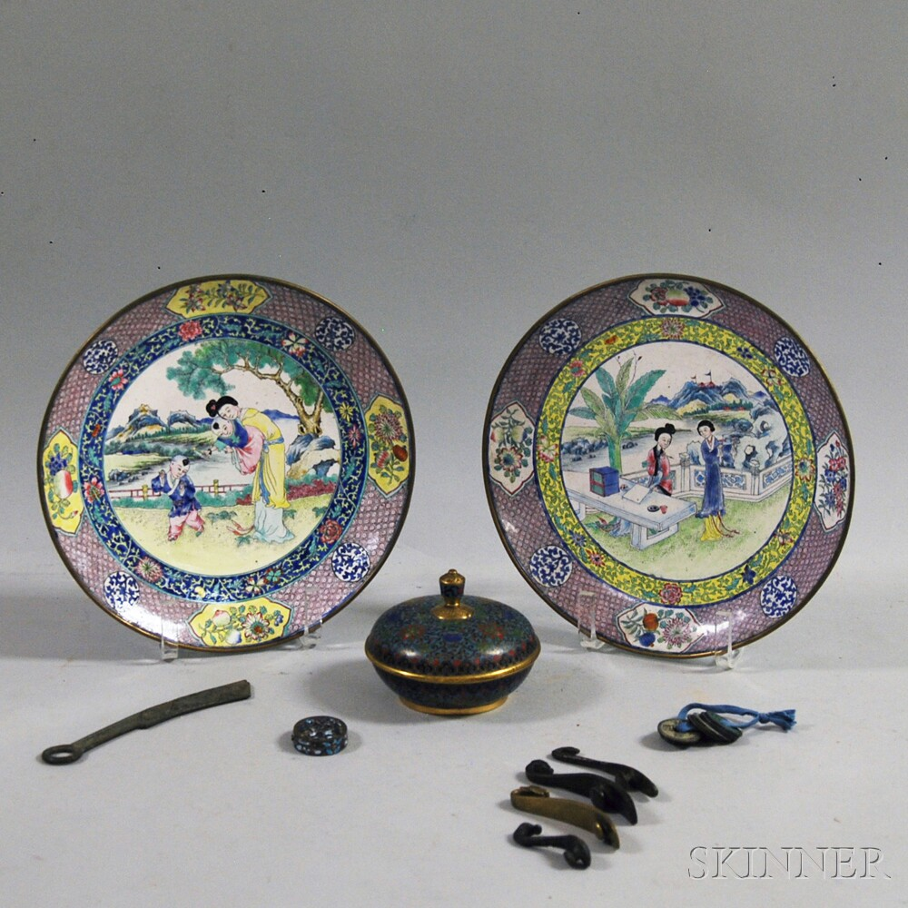 Group of Chinese Metal and Cloisonne Items
