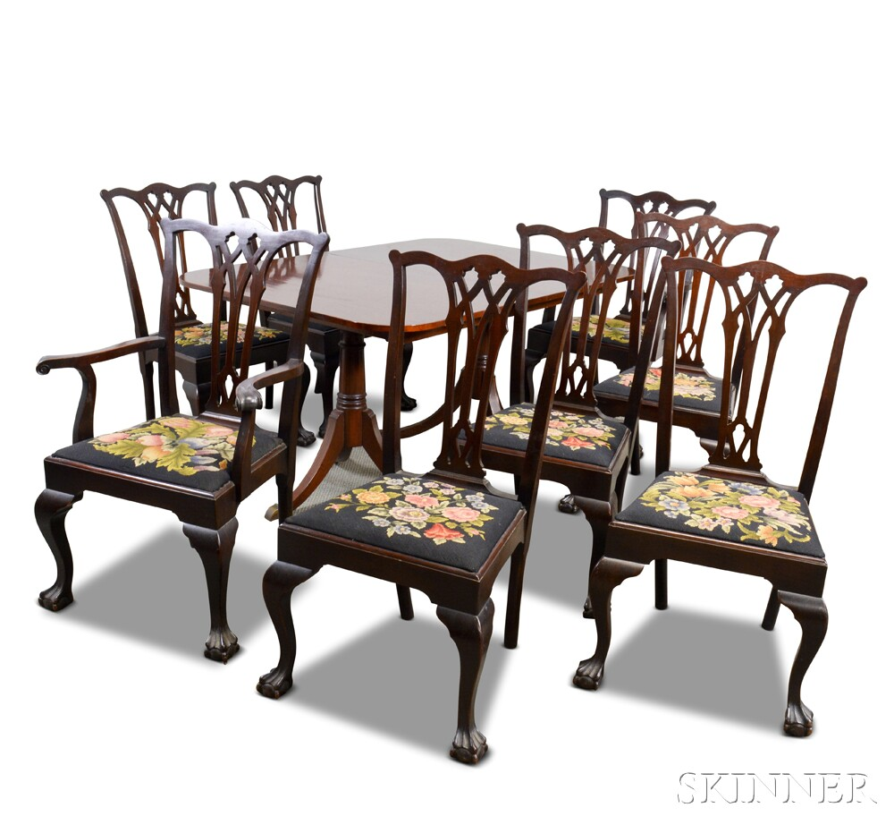 Paine furniture chippendale style mahogany dining room for Mahogany dining room furniture