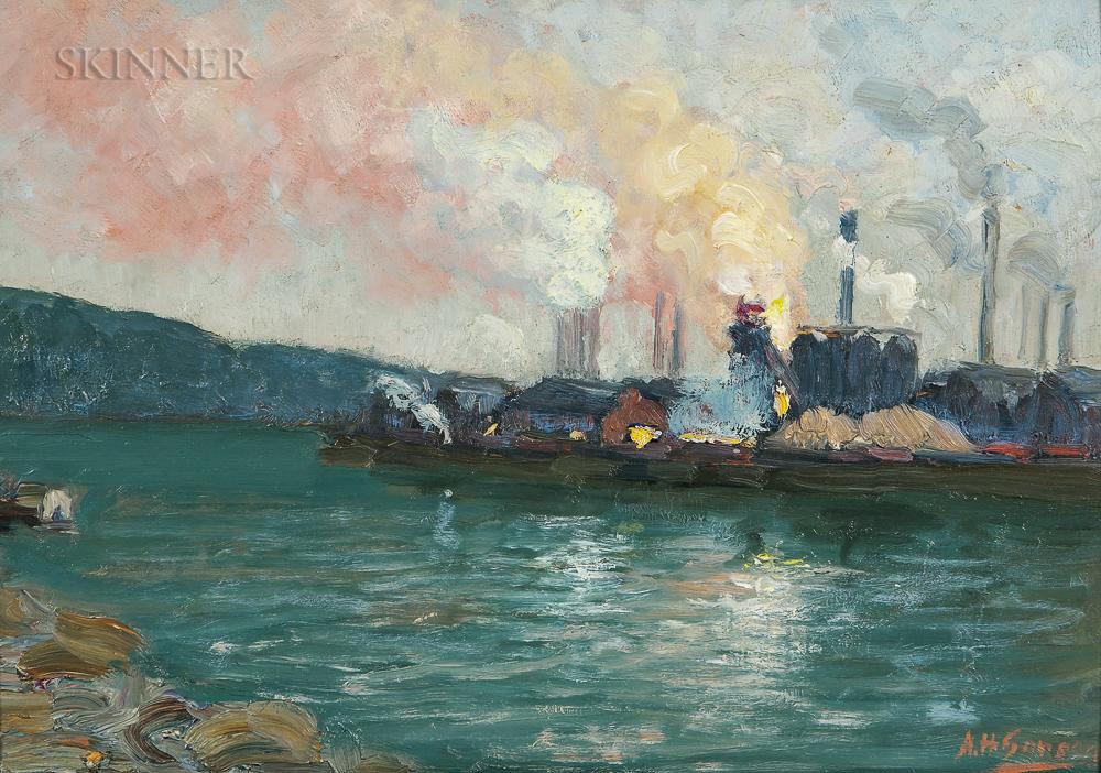 Aaron Harry Gorson (American, 1872-1933)      Steel Mills Along a River