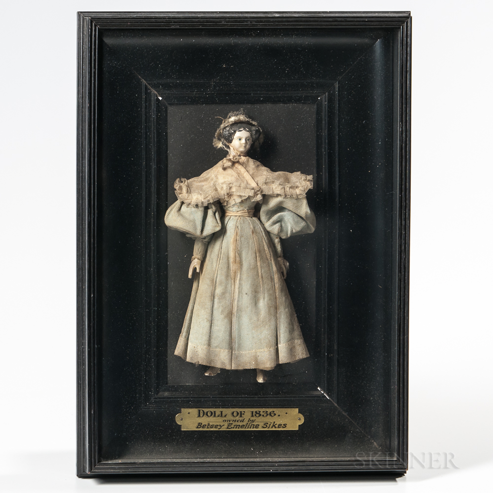 Doll Wearing a Blue Gown Mounted in a Shadow Box Frame