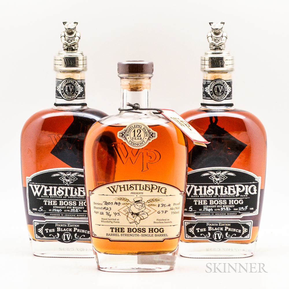 Whistle Pig, 3 750ml bottles Spirits cannot be shipped. Please see http://bit.ly/sk-spirits for more info.