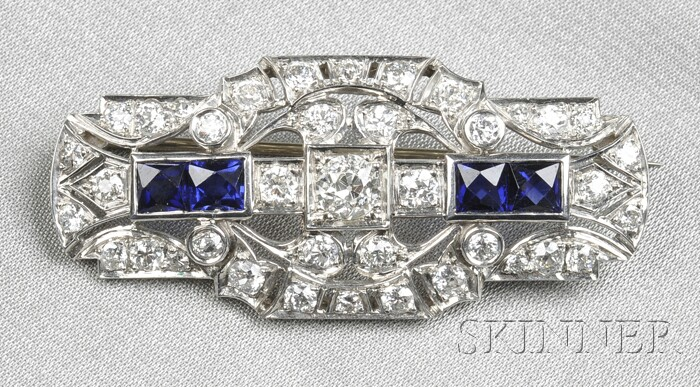 Art Deco Platinum, Synthetic Sapphire, and Diamond Brooch