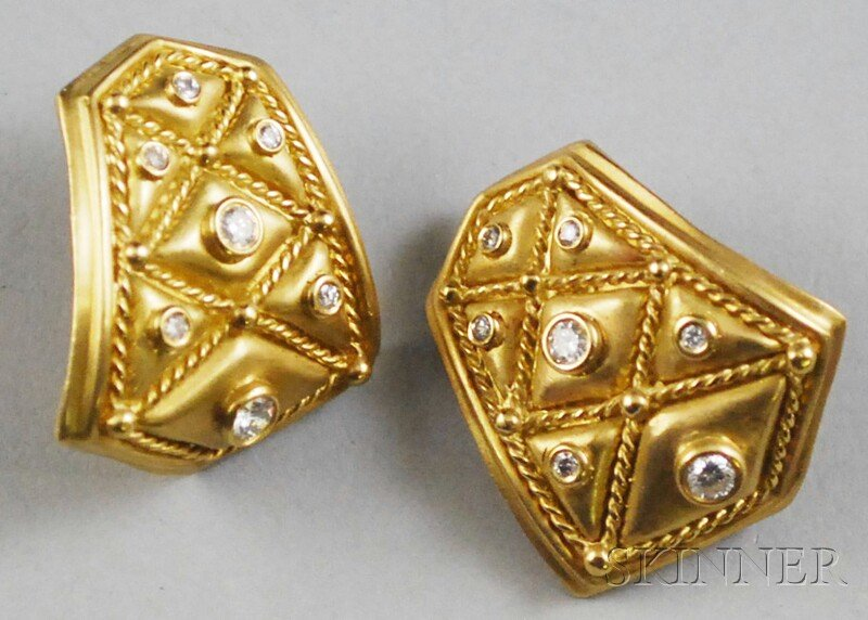 """18kt Gold and Diamond Athena """"Quilted"""" Earrings"""