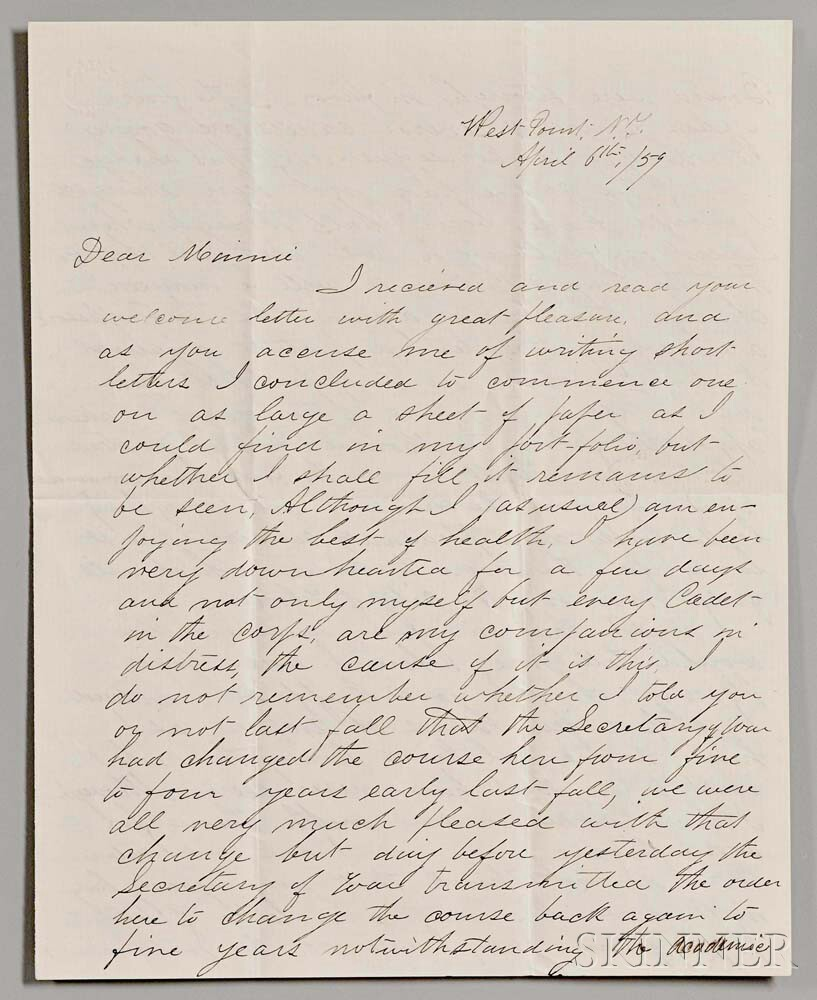 Custer, George A. (1839-1876) Autograph Letter Signed, West Point, New York, 6 April 1859.