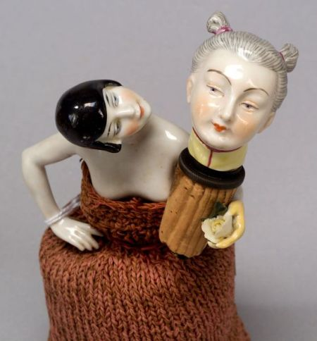 China Half Doll with Removable Head and Porcelain Oriental Lady-Head Bottle Stopper