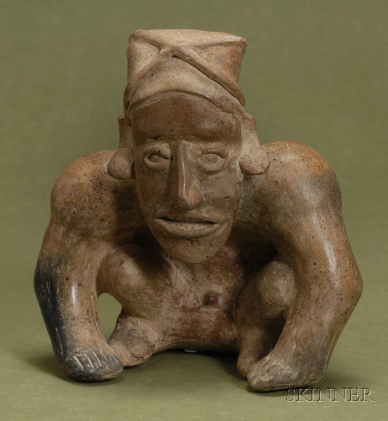 Pre-Columbian Seated Male Pottery Figure