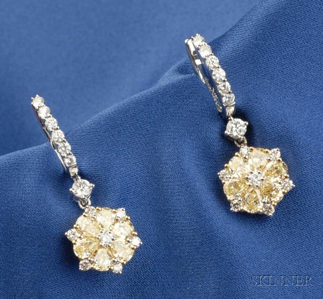 18kt White Gold, Colored Diamond and Diamond Earpendants