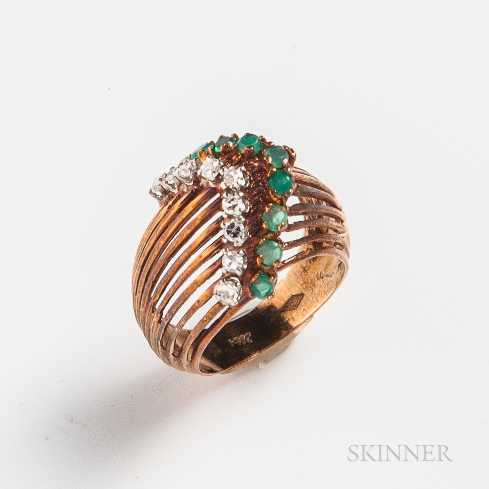 14kt Gold, Diamond, and Emerald Ring