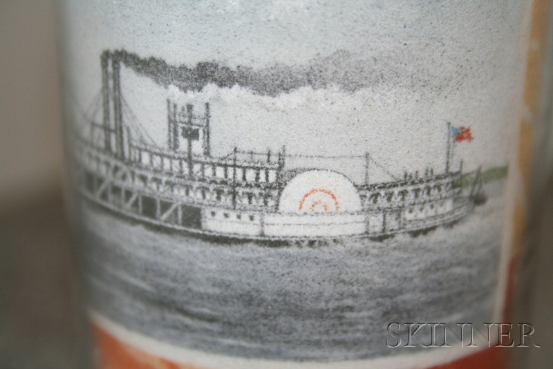 Signed Sand Picture in a Glass Bottle Showing a Paddlewheeler