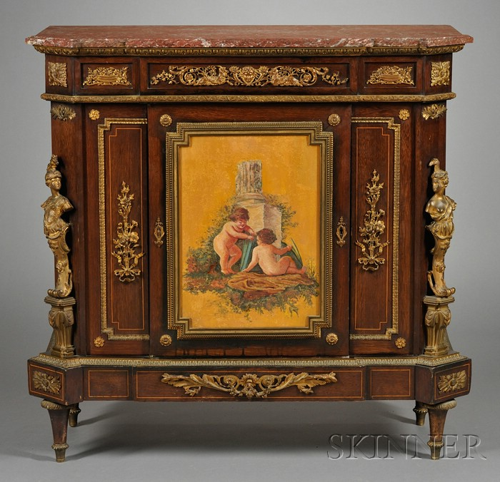 Louis XVI Style Ormolu-mounted, Painted and Marble-top Kingwood Side Cabinet
