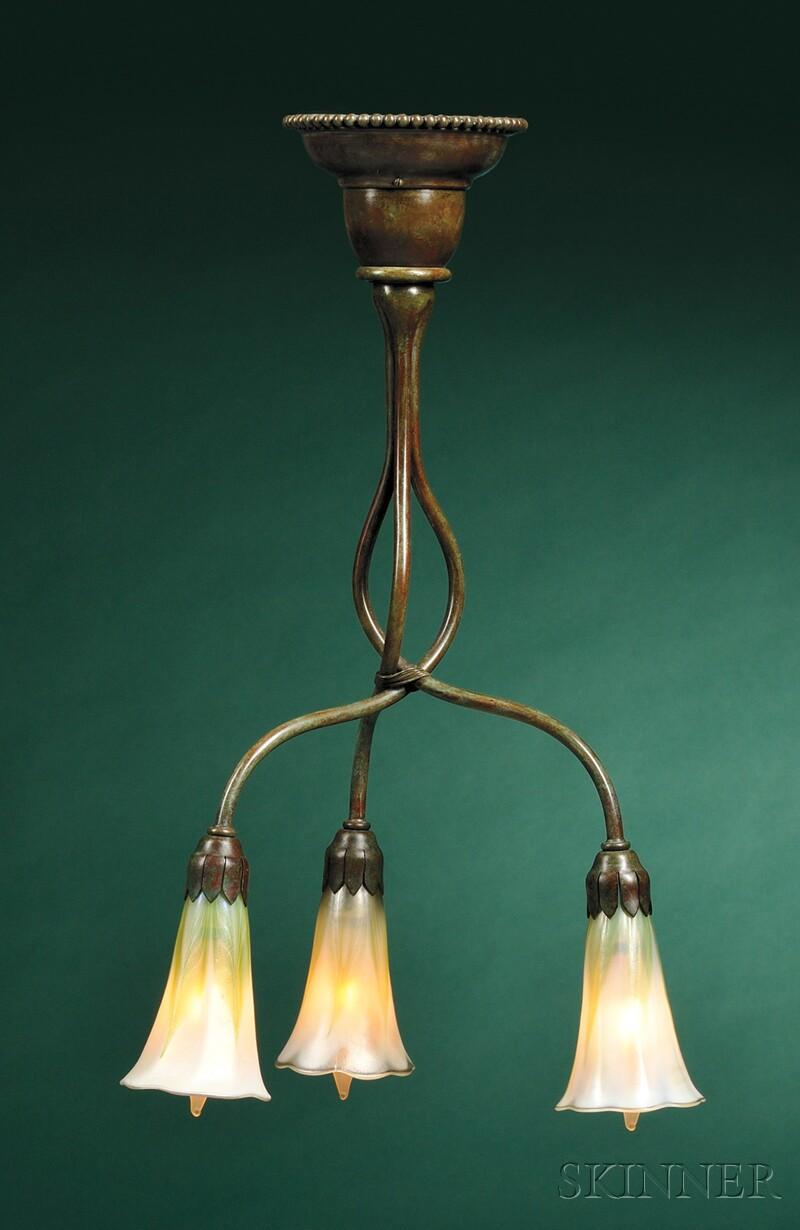 Tiffany Favrile Glass Hanging Lamp